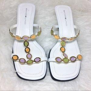 Bandolino White jeweled strap kitten heel sandals